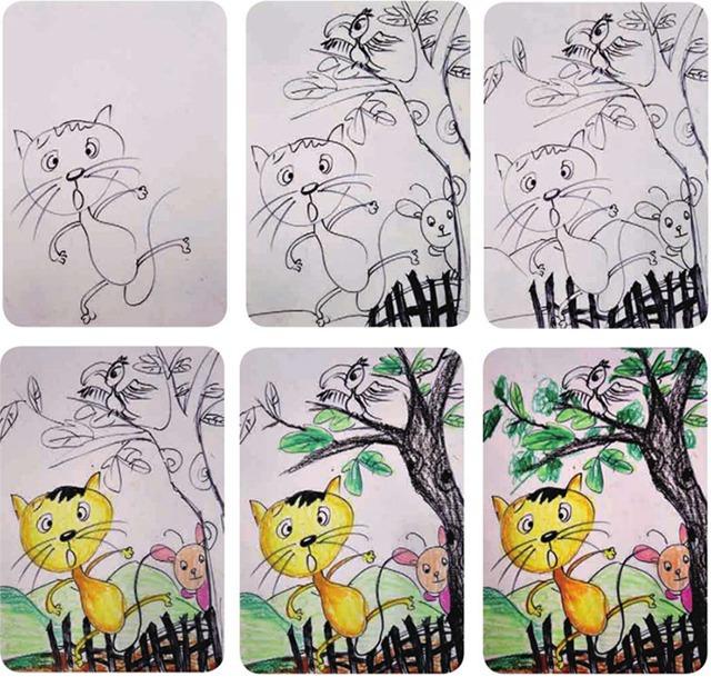三只小猫的故事绘画步骤