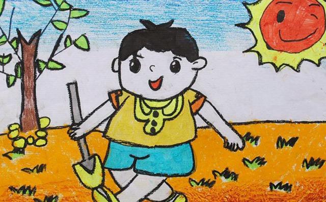 6岁少儿画画课程教案「我爱劳动」