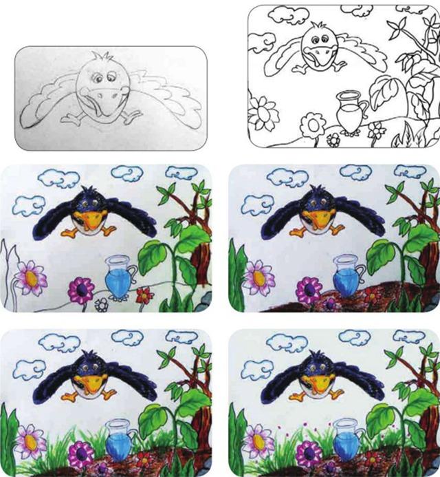 乌鸦喝水绘画步骤图
