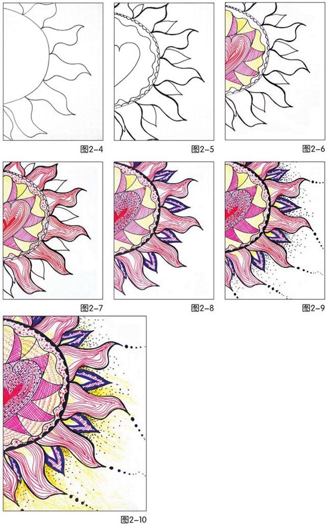 太阳花绘画步骤