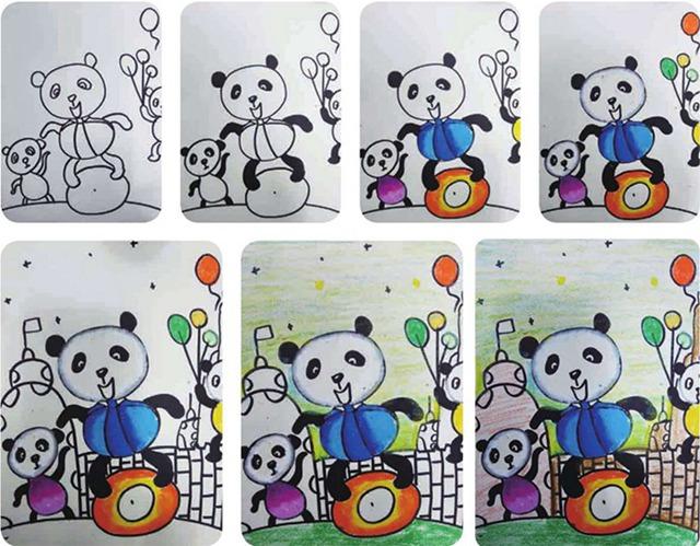 熊猫绘画步骤