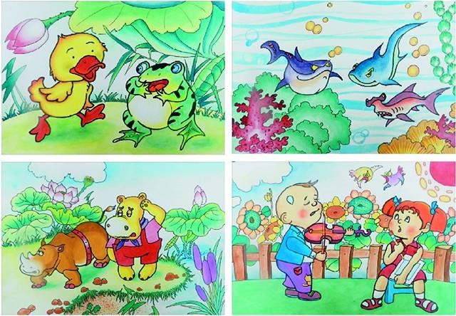 水彩(工笔画风格)创意卡通画作品欣赏