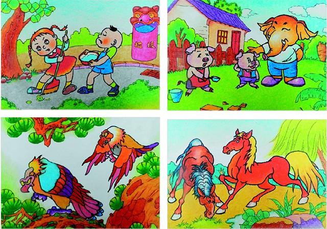油画棒创意卡通画作品欣赏