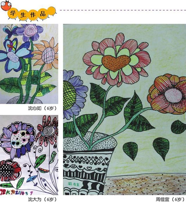 点线面儿童绘画作品_一年级美术教案「奇花异草」