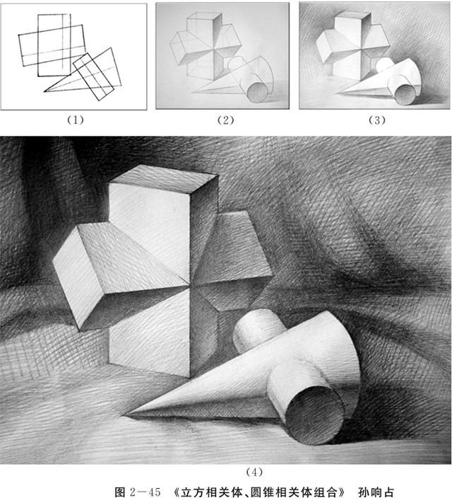 立方相关体、圆锥相关体组合的画法步骤