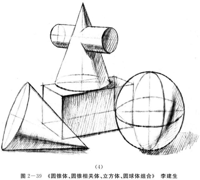 圆锥体、圆锥相关体、立方体、圆球体组合的画法步骤