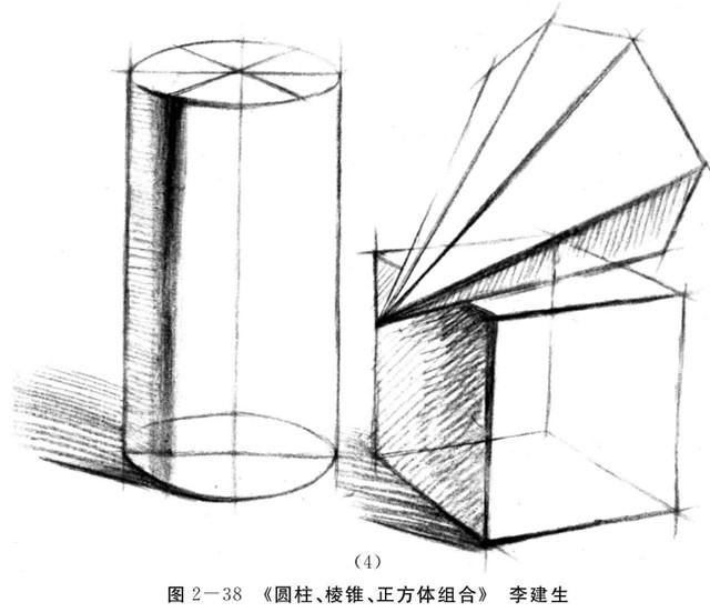 圆柱、圆锥、正方体组合的画法步骤