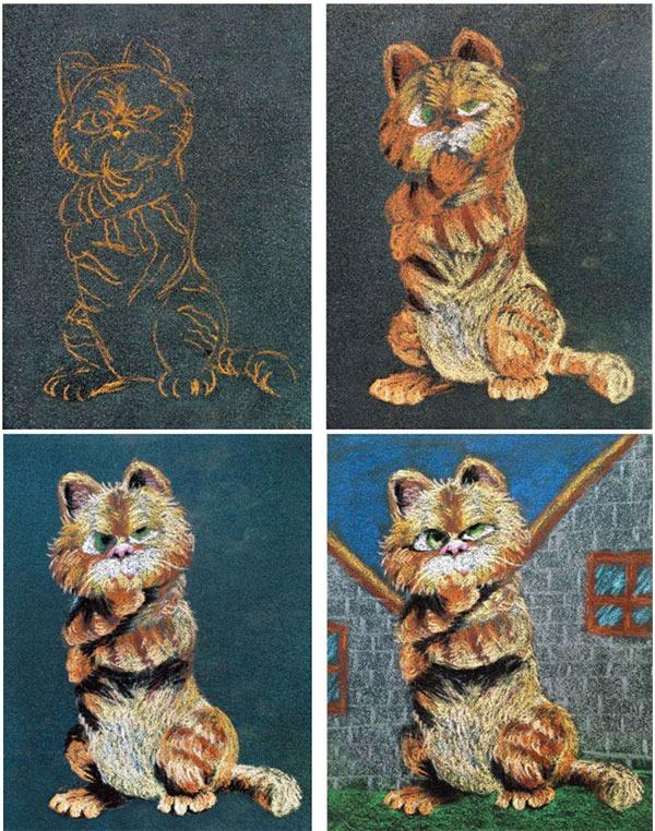 加菲猫绘画步骤