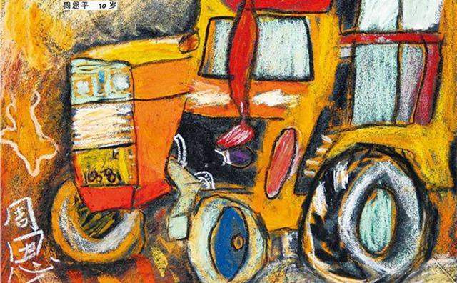 拖拉机绘画作品