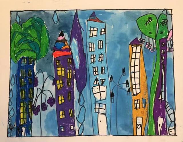 儿童画建筑物