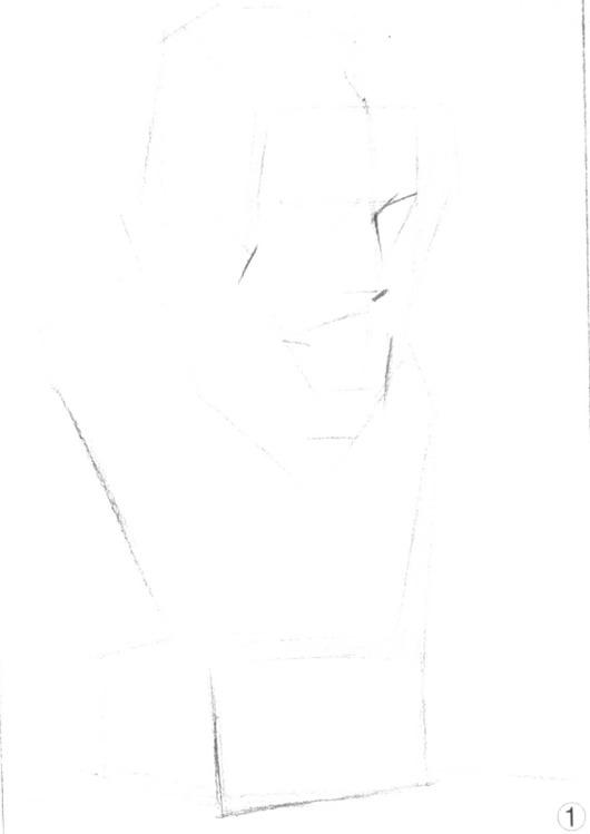 石膏像素描画法解析第一步