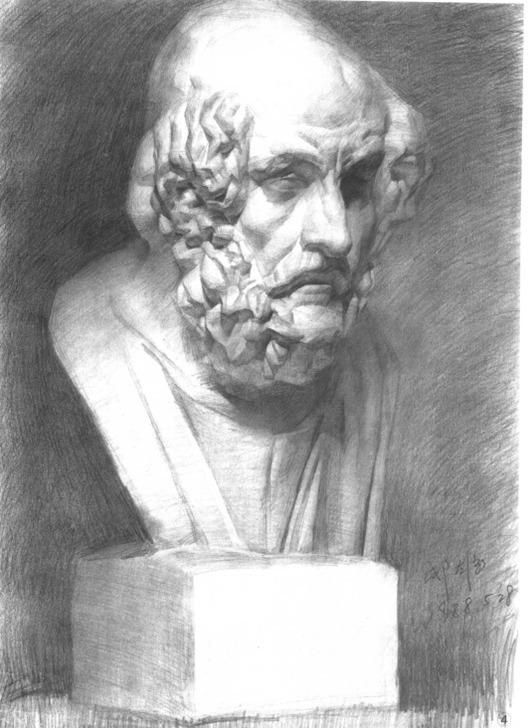 石膏像素描画法解析第四步