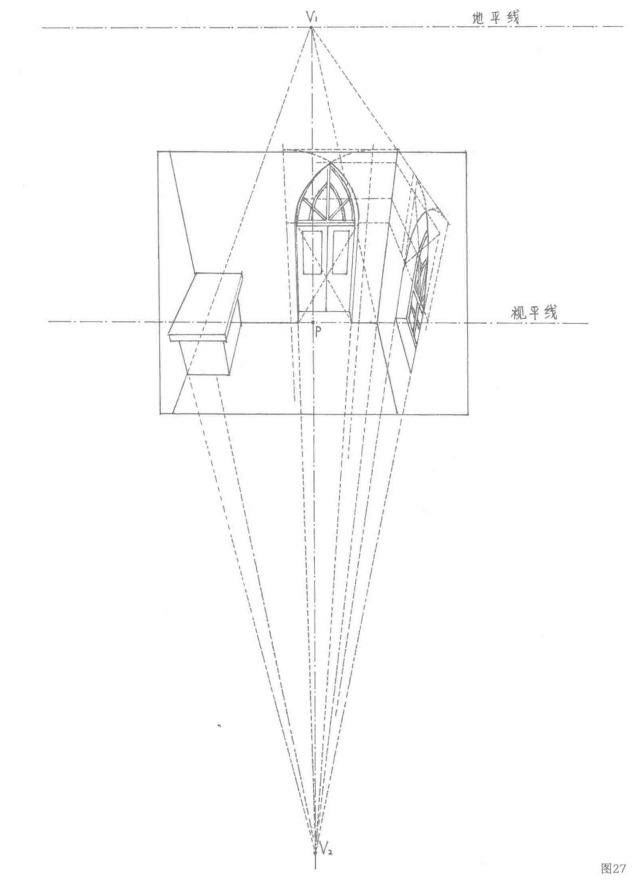 有尖角圆拱门窗的教堂建筑的倾斜透视图