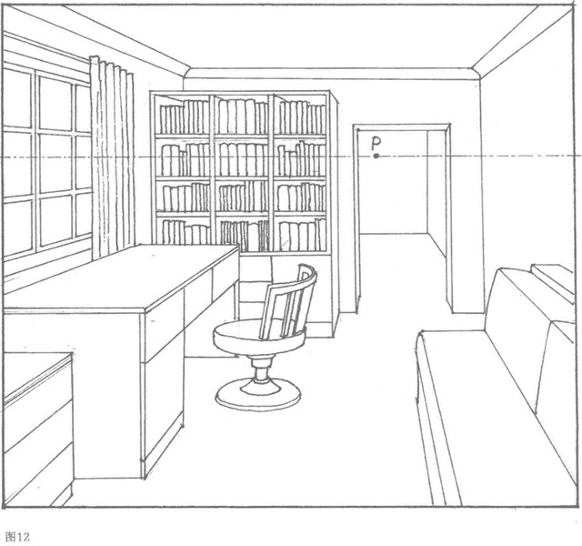 室内的平行透视图