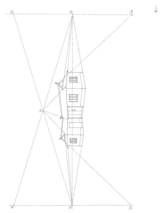 老式房屋的成角透视图画法