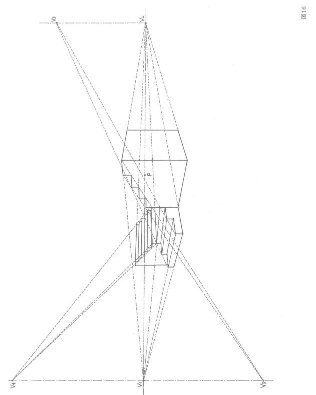 阶梯道具的成角透视图