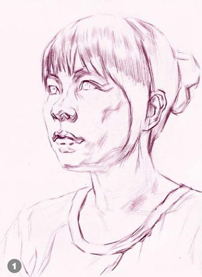 侧脸素描人物头像的画法步骤一