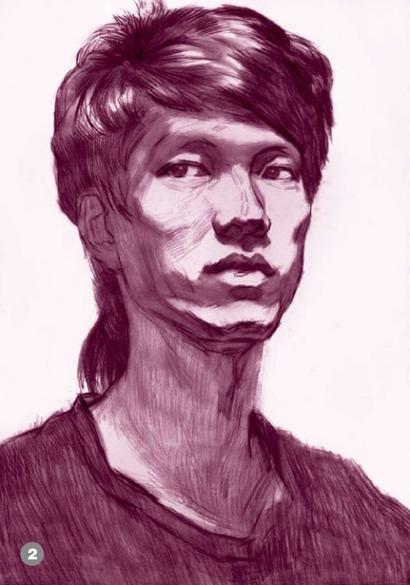 男青年正脸素描头像怎么画步骤二