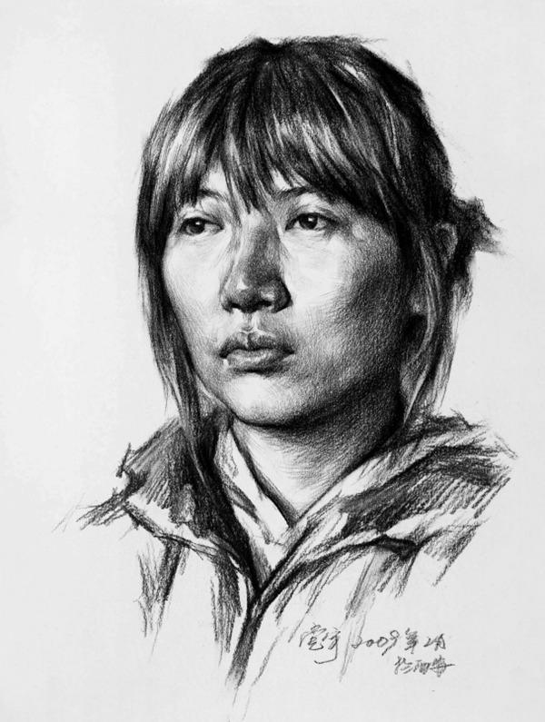 正脸素描人物头像的画法步骤五