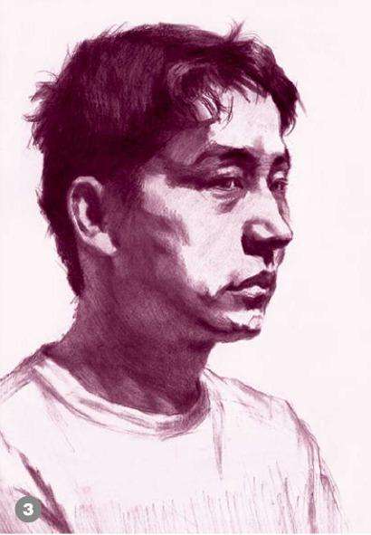 男青年侧脸素描头像怎么画步骤三