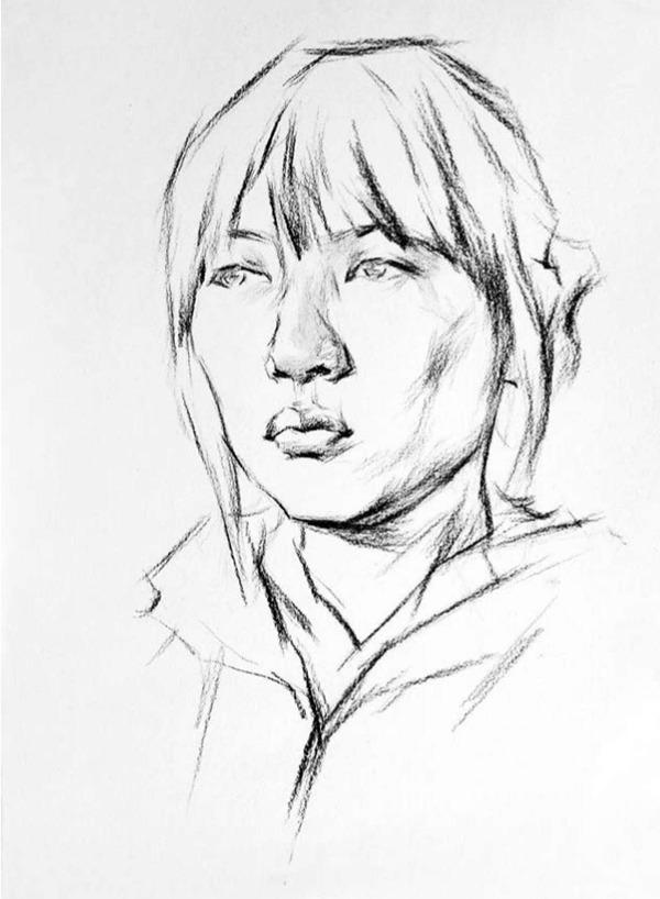 正脸素描人物头像的画法步骤一
