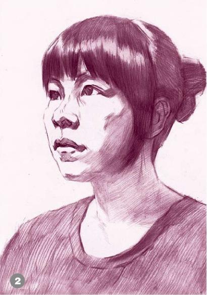 侧脸素描人物头像的画法步骤二