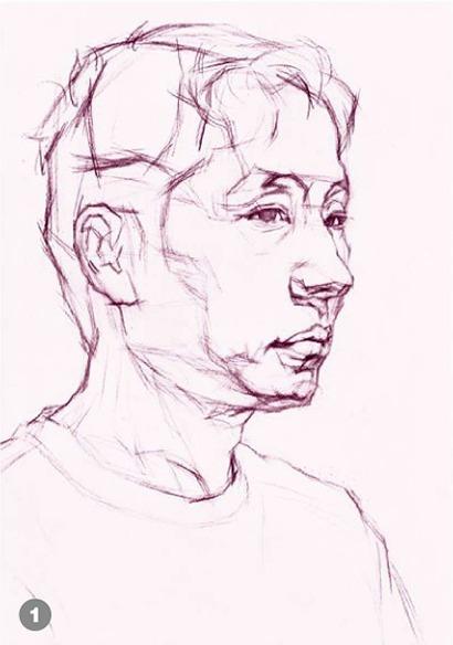 男青年侧脸素描头像怎么画步骤一
