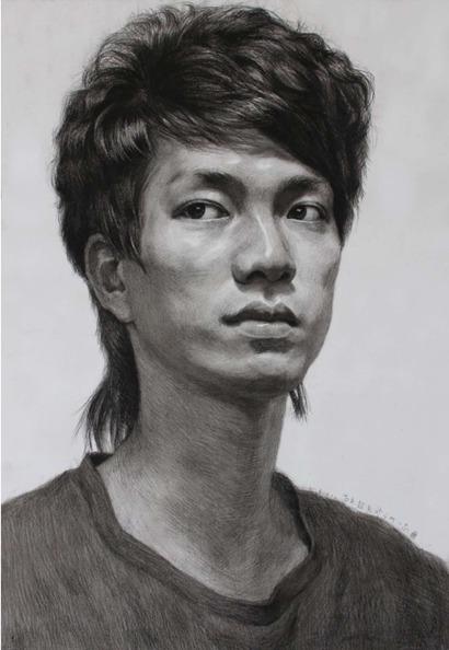 男青年正脸素描头像怎么画