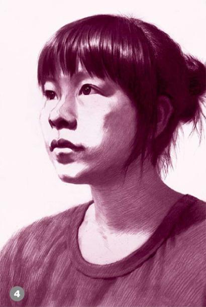 侧脸素描人物头像的画法步骤四