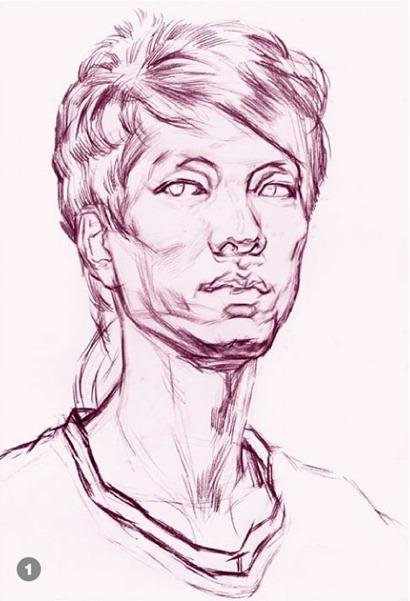 男青年正脸素描头像怎么画步骤一