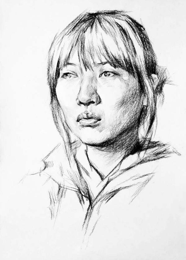 正脸素描人物头像的画法步骤二