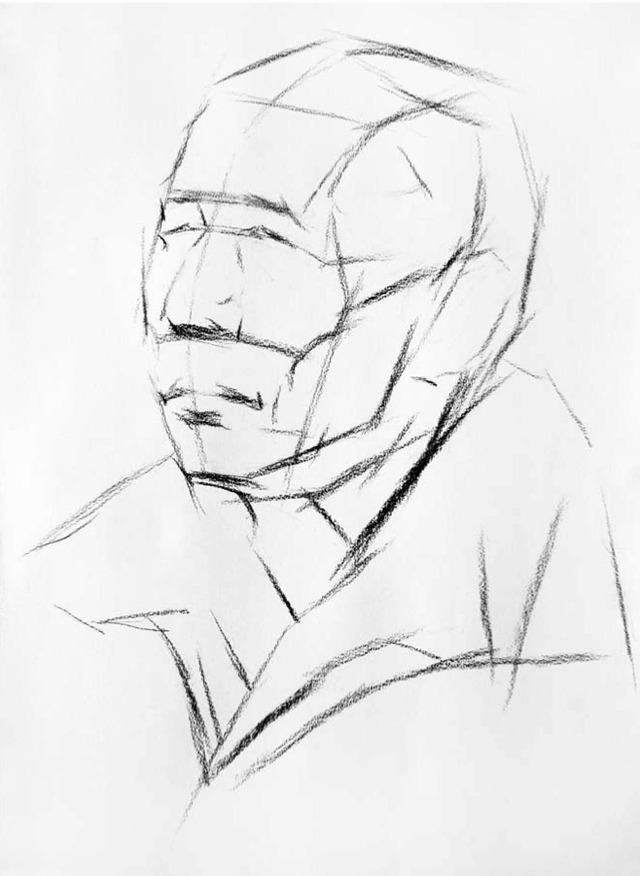 侧面老人人物头像素描步骤一