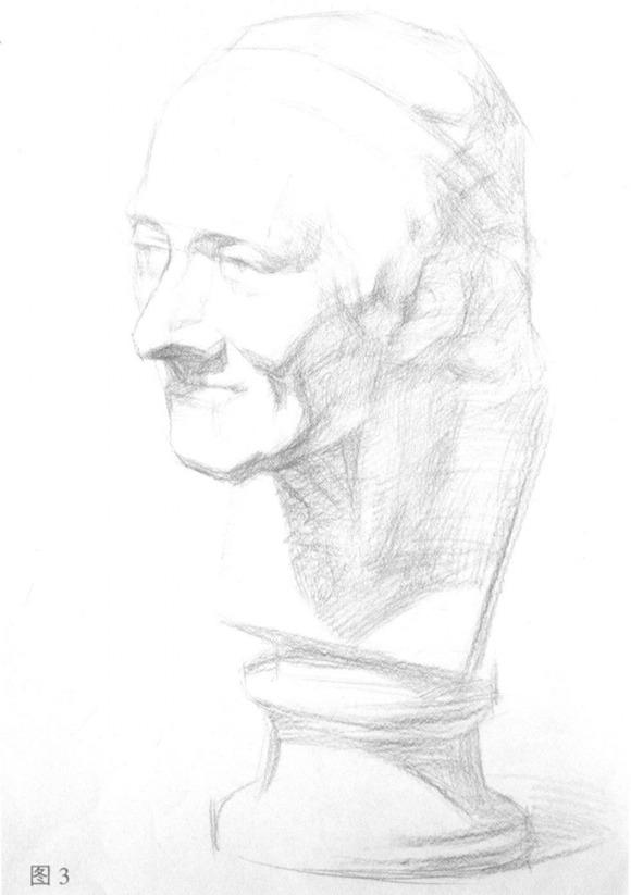 素描石膏头像步骤三