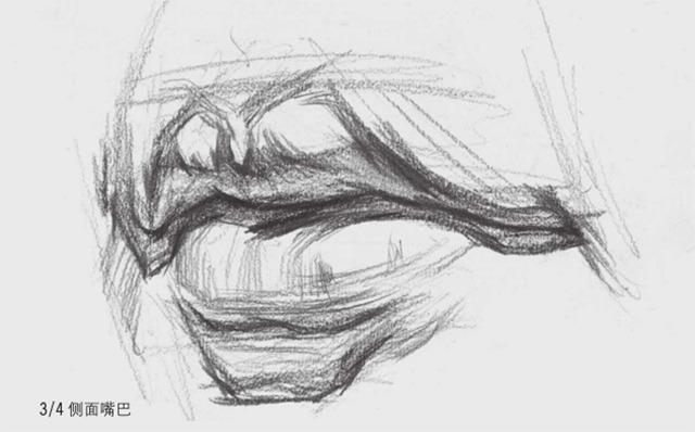 3/4侧面素描嘴巴的画法