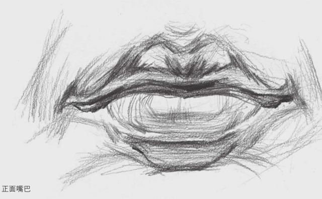 正面素描嘴巴的画法
