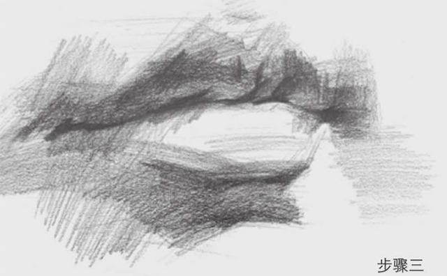 素描嘴巴的画法步骤图三