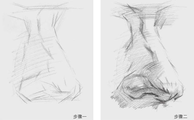 素描鼻子的画法图解一和二