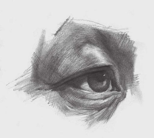 3/4侧面素描眼睛的详细画法