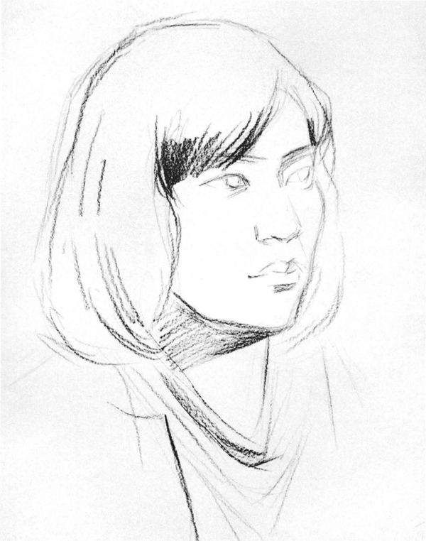 女青年侧脸人物头像素描步骤一