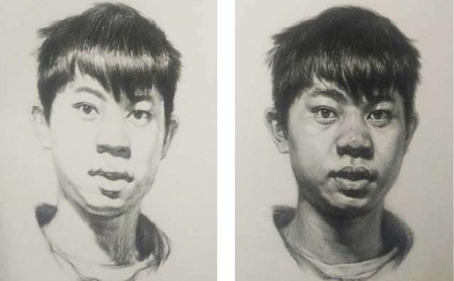 正面男青年素描头像绘画步骤三和四