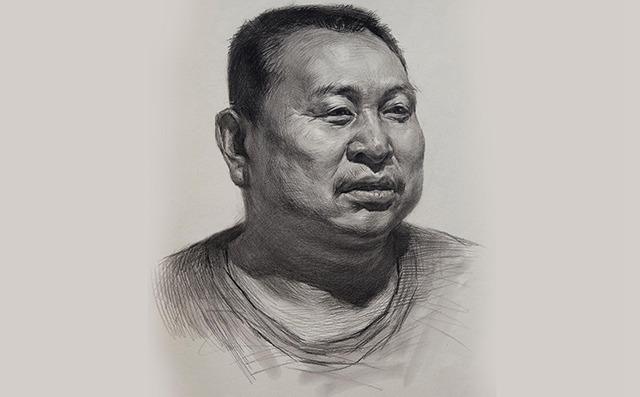 男中年素描头像