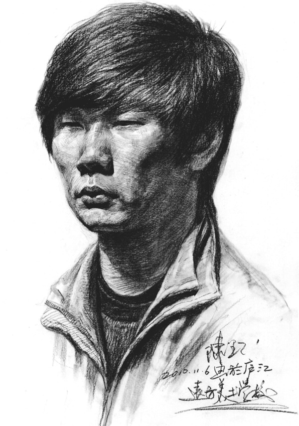 男青年侧脸人物头像素描步骤五