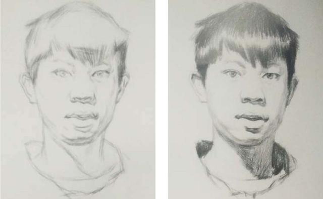 正面男青年素描头像绘画步骤一和二