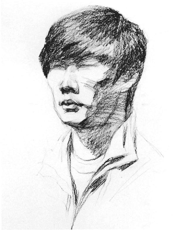 男青年侧脸人物头像素描步骤二