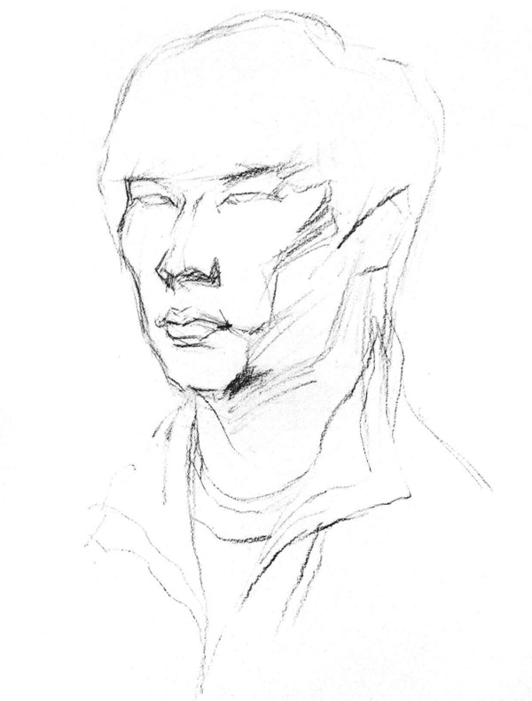 男青年侧脸人物头像素描步骤一