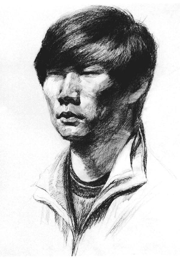 男青年侧脸人物头像素描步骤三