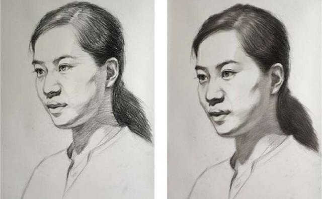 素描人头像初学步骤图三和四
