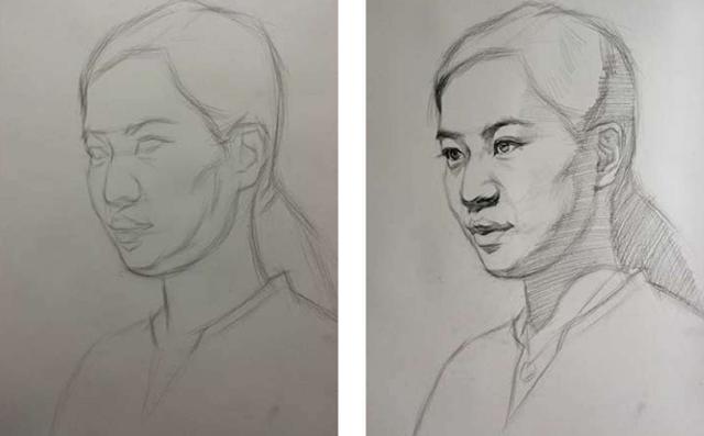 素描人头像初学步骤图一和二