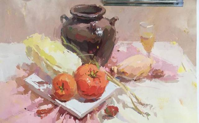 色彩罐子与蔬菜组合