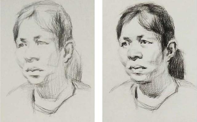 女中年3/4面人物头像素描绘画步骤一和二
